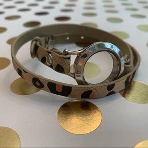 Origami Owl leopard print leather wrap bracelet